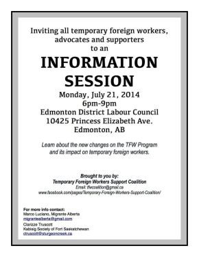 Info session on Temporary Foreign Worker Program changes on July21