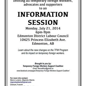 Info session on Temporary Foreign Worker Program changes on July 21