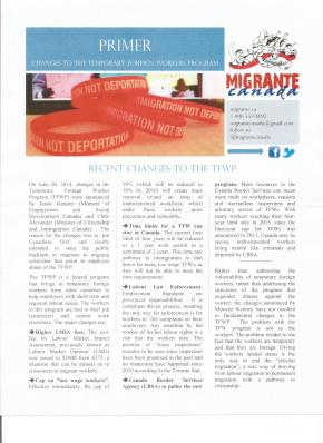 Migrante Canada issues Primer on TFW Program changes, believes immigration as solution to labourcrisis