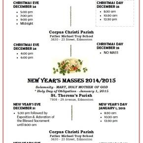 St.Theresa Parish announces Christmas Massesschedule