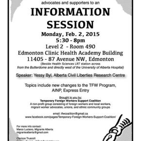 Information Session for Temporary Foreign Workers on Feb.2; Topics include changes on TFW Program, AINP, ExpressEntry