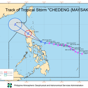 """Tropical storm `Chedeng"""" moves closer to eastern coast ofIsabela-Aurora"""