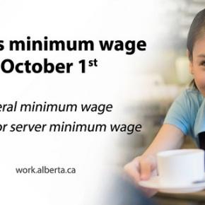 Alberta's minimum wages increase October1