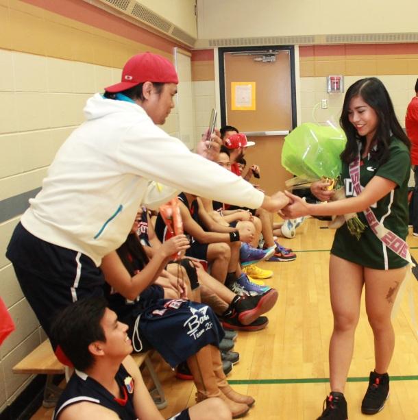 Hinton Knight Louie Ferrol congratulates muse of the league Micaela Cortez.(pinoy edmonton news)