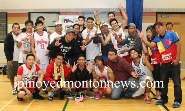 Grande Prairie Filipino Basketball League(GPFBL) team is composed of Noel Barcelos, JP Cruz, Jo Baquinas, Renato de Leon, Dominic Macarine, TR Gomez, Gilbert Awid, Arnel Enriquez, Antonio Nuyda, Reinson Avila, Joshua Manzano, Patrick Corpuz, Jonas de Castro, Jhon Bueno, Mike Fajardo, coach Jimmy Guarin with their supporters.(Photo by Moses Billacura/pinoy edmonton news)