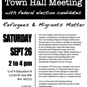 Migrante Alberta organizes Town Hall Meeting with federal election candidates on Sept.26