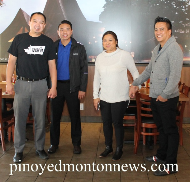 Representatives of the Benzon family, Ana Leah and Ruel (holding hands), with Edwin Arciaga and regular customer Chester Tiongson (extreme left).(Photo by Moses Billacura/pinoy edmonton news)