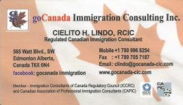 Looking for a Regulated Canadian Immigration Consultant, call Cielito Lindo at 780-996-8254.