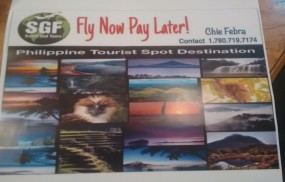 "Mga kababayan, SGF Travel&Tours offers ""Fly Now, Pay Later"". Tumawag lang po kay Chie sa 1-780-719-7174."