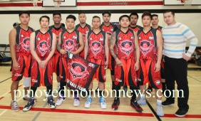 Jake Bonafe Uniforms proudly present their work for the Wetaskiwin, Hoopers, goNissan and Alberta Credit squads and the PRSAA-Leduc organizing committee headed by Tony Villanueva at the start of the PRSAA-Leduc Spring Basketball League, April 9.(Photos by Moses Billacura/p.e.n.)