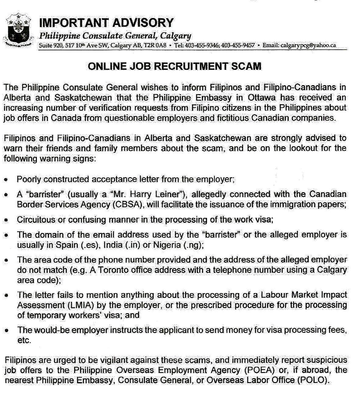 Philippine Consulate General Calgary warns of `Online Job