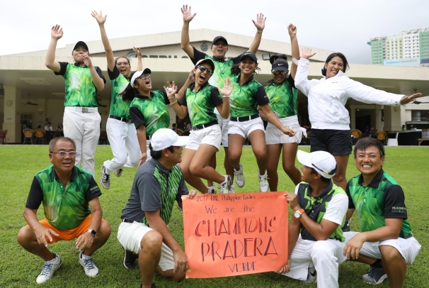 Newcomer Pradera Verde breaks the six-year reign of Manila Southwoods Masters at the PAL Ladies Interclub held at Cebu Country Club. The traditional victory jump of Pradera's lady golfers, together with their coaches and mentors, caps the 12th edition of the four-day tournament. The young Pradera golfers include Nicole Sabrille Anne Abelar, Tomita Arejola, Annyka Chanel Cayabyab, Harmie Constantino, Michela Tjan Effendie, Lorenz Kayla Nocum, Yuka Saso, Kristine Torralba.