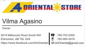 Mga Kababayan, opening po ng A4Oriental Store ngayong Linggo, Abril 8, sa 6019 Millwoods Road South NW!