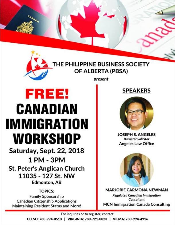 PBSA Free Canadian Immigration Workshop on Sept 22 in