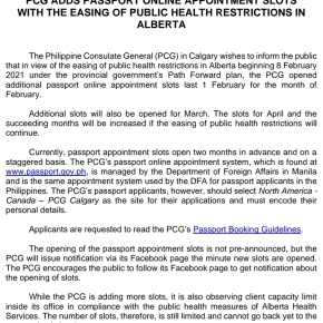 Philippine Consulate Calgary adds online appointment slots with the easing of public health restrictions inAlberta