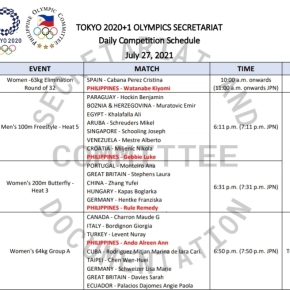 Team Philippines – July 27 Competition Schedule (as of 0726, 02:05PM)
