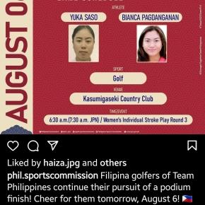 Saso scores four-under-par 67 in 3rd round, Pagdanganan blows hot start
