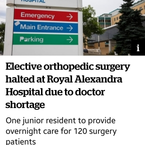 SHANDRO MUST TAKE RESPONSIBILITY FOR MASS CANCELLATION OF SURGERIES, UNSAFE SITUATION AT ROYAL ALEXANDRAHOSPITAL