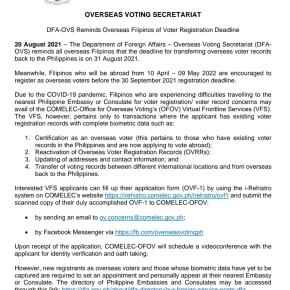 Overseas Filipino voter registration deadlineset
